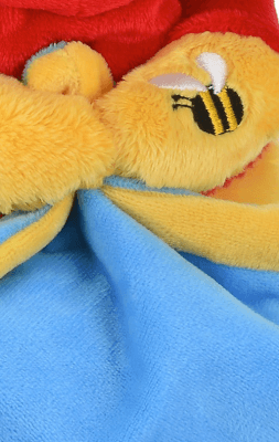 Doudou mouchoir Winnie l'Ourson et son pot de miel détail patte