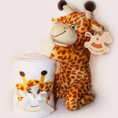Doudou peluche Girafe avec une couverture