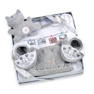 Coffret cadeau Chats gris pour bébé fille