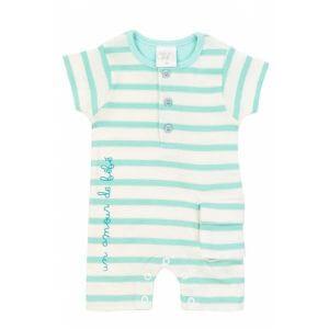 Combishort manches courtes pour bébé vert et blanc