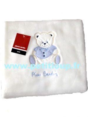couverture polaire bébé P Cardin ourson bleue 110 x140