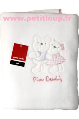 couverture polaire bébé duo oursons P CARDIN 110 x140