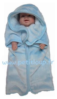Baby sac polaire bleu avec ourson brun de Copito