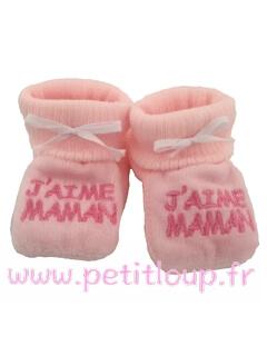 Chaussons pour bébé couleur rose avec broderie