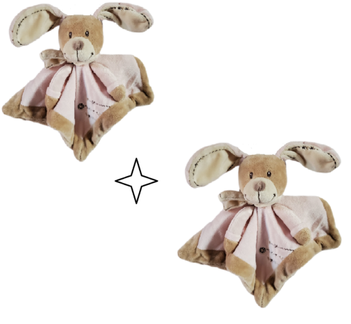 Doudou bébé fille lapin avec son mouchoir vendu par 2