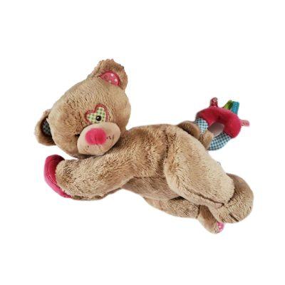 Doudou ourson musical pour petit bébé fille avec coeur rose
