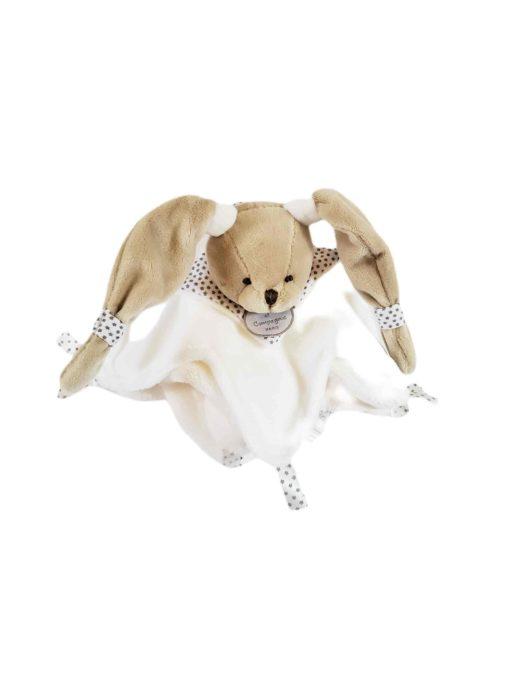 Doudou plat ours blanc avec mouchoir polaire