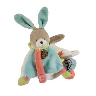 Doudou plat ourson multicolore collection histoire d'ours