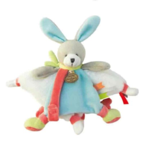Doudou plat ourson multicolore collection histoire d'ours