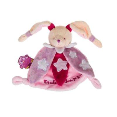 Doudou plat petit ours étoiles rose pour bébé