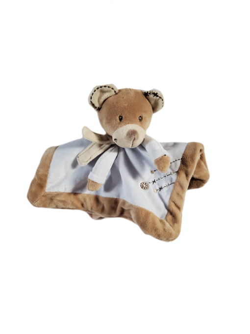 Nounours peluche mouchoir bleu pour bébé garçon