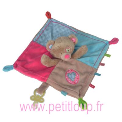 Doudou mouchoir ourson brun pour bébé fille