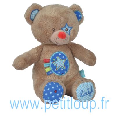 Doudou peluche ours brun pour bébé garçon