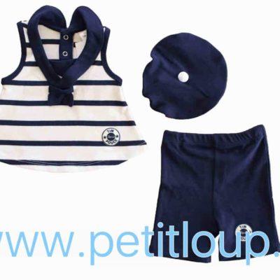 Ensemble marin bébé avec tunique et pantalon couleur bleue